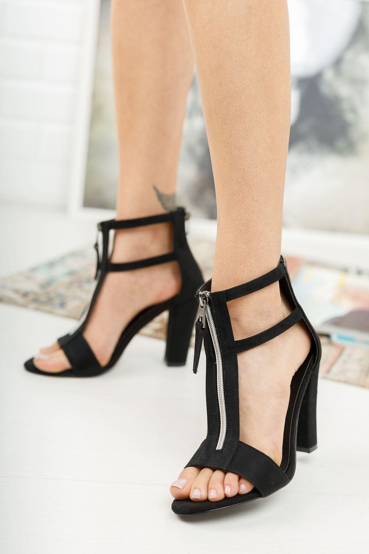Rein Siyah Süet Topuklu Ayakkabı
