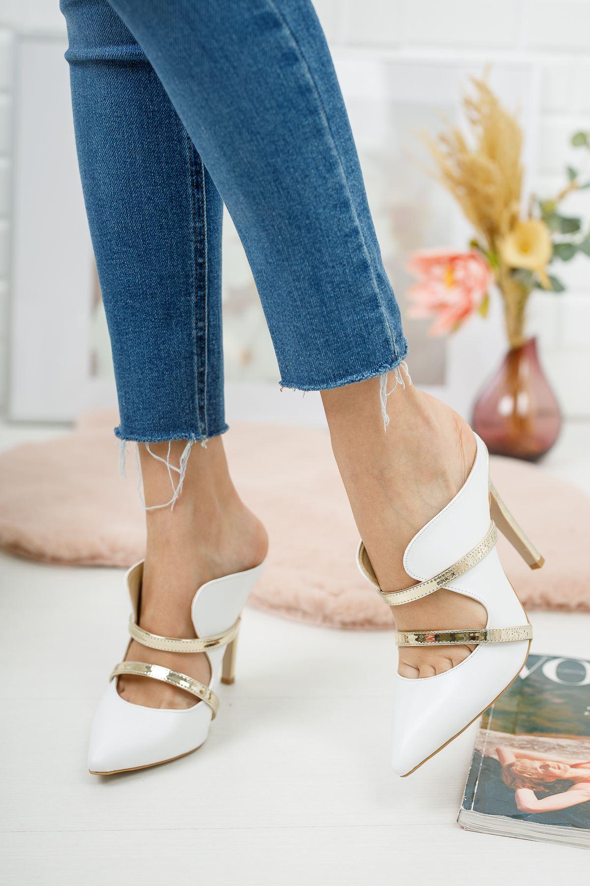 Elenas Beyaz Cilt Kadın Topuklu Ayakkabı