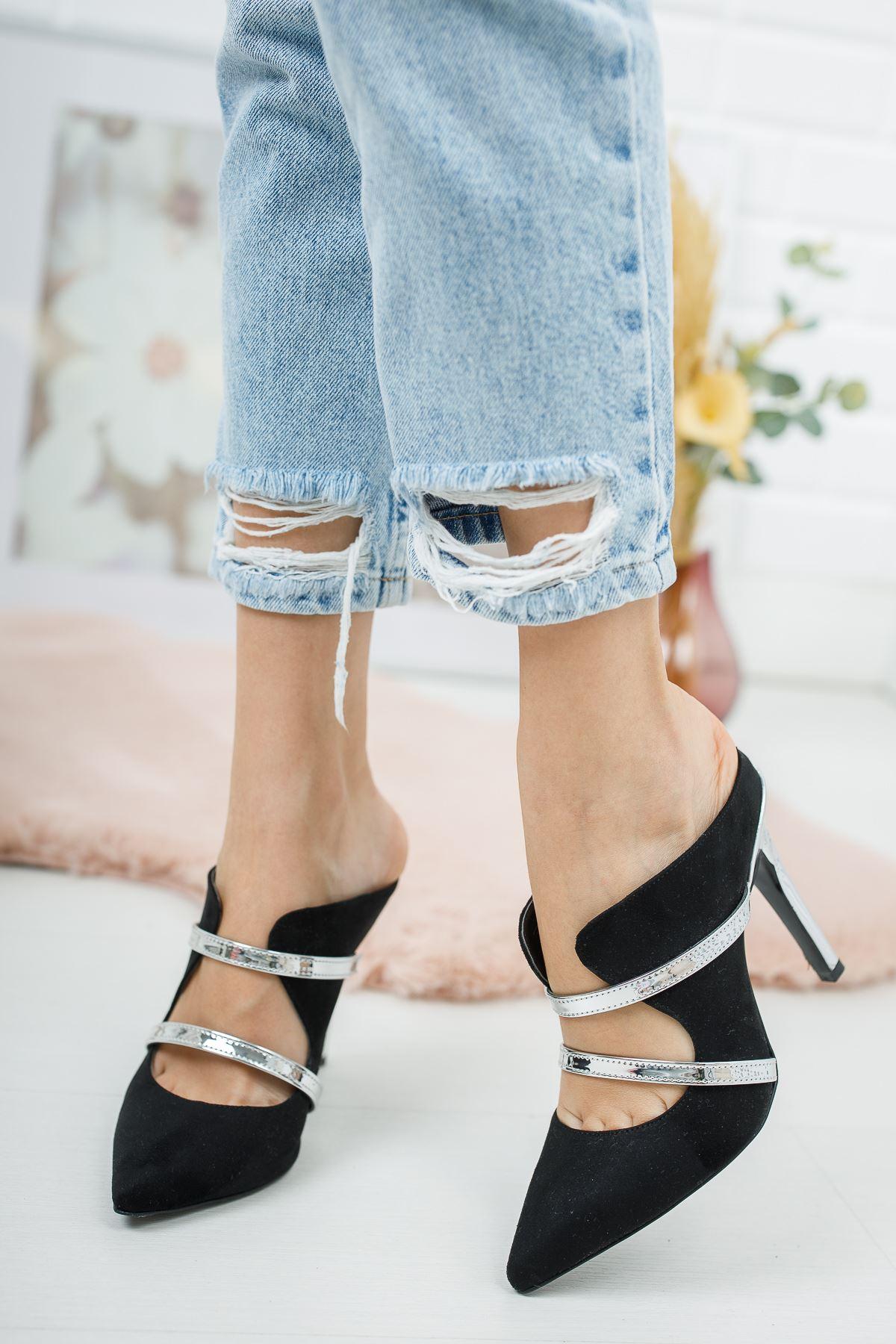 Elenas Siyah Süet Kadın Topuklu Ayakkabı