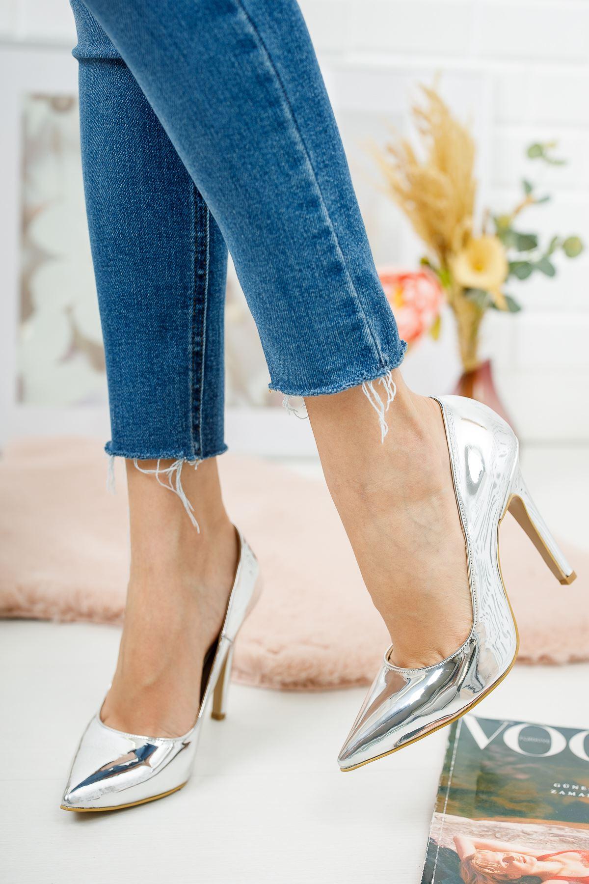 Tokyo Gümüş Ayna Kadın Topuklu Ayakkabı Stiletto