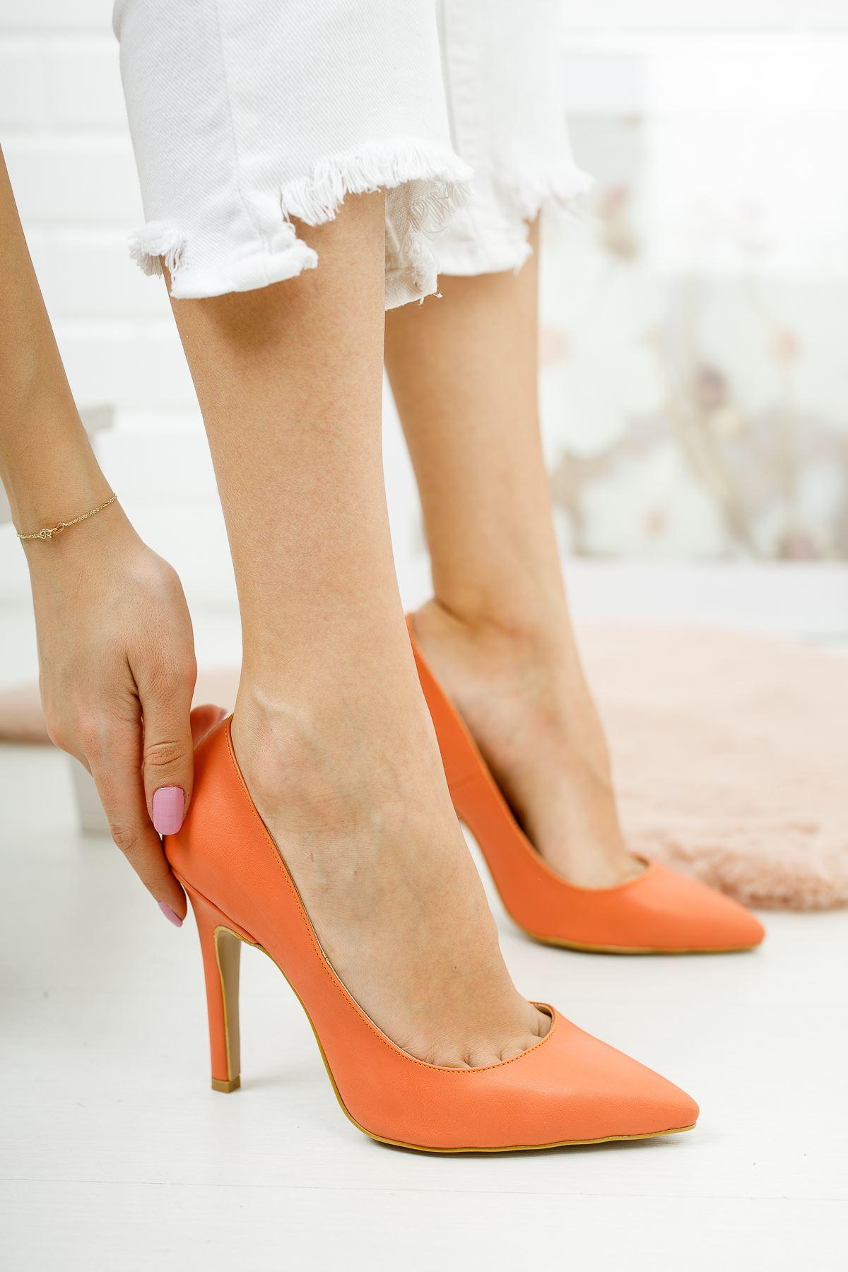 Tokyo Turuncu Cilt Kadın Topuklu Ayakkabı Stiletto