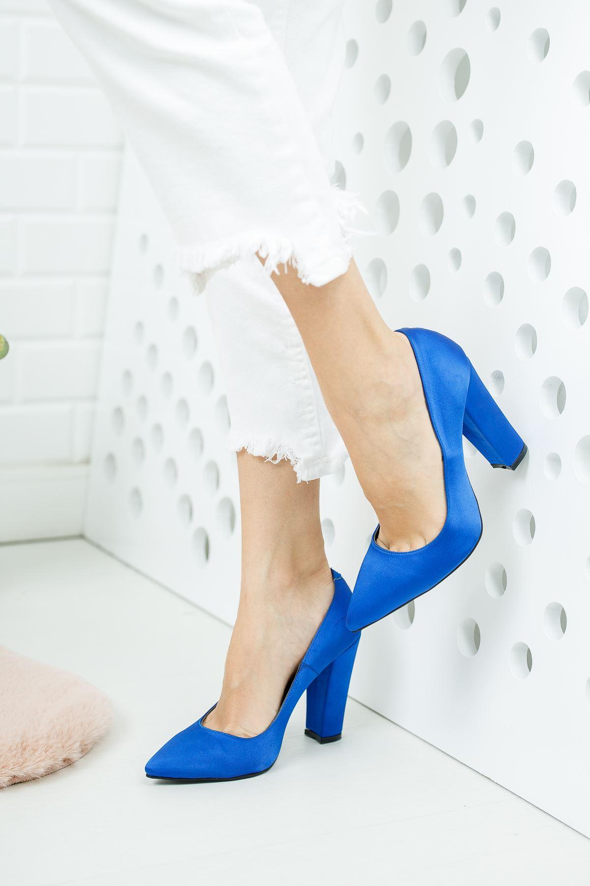 Tokyo Sax Mavi Saten Kadın Topuklu Ayakkabı Stiletto