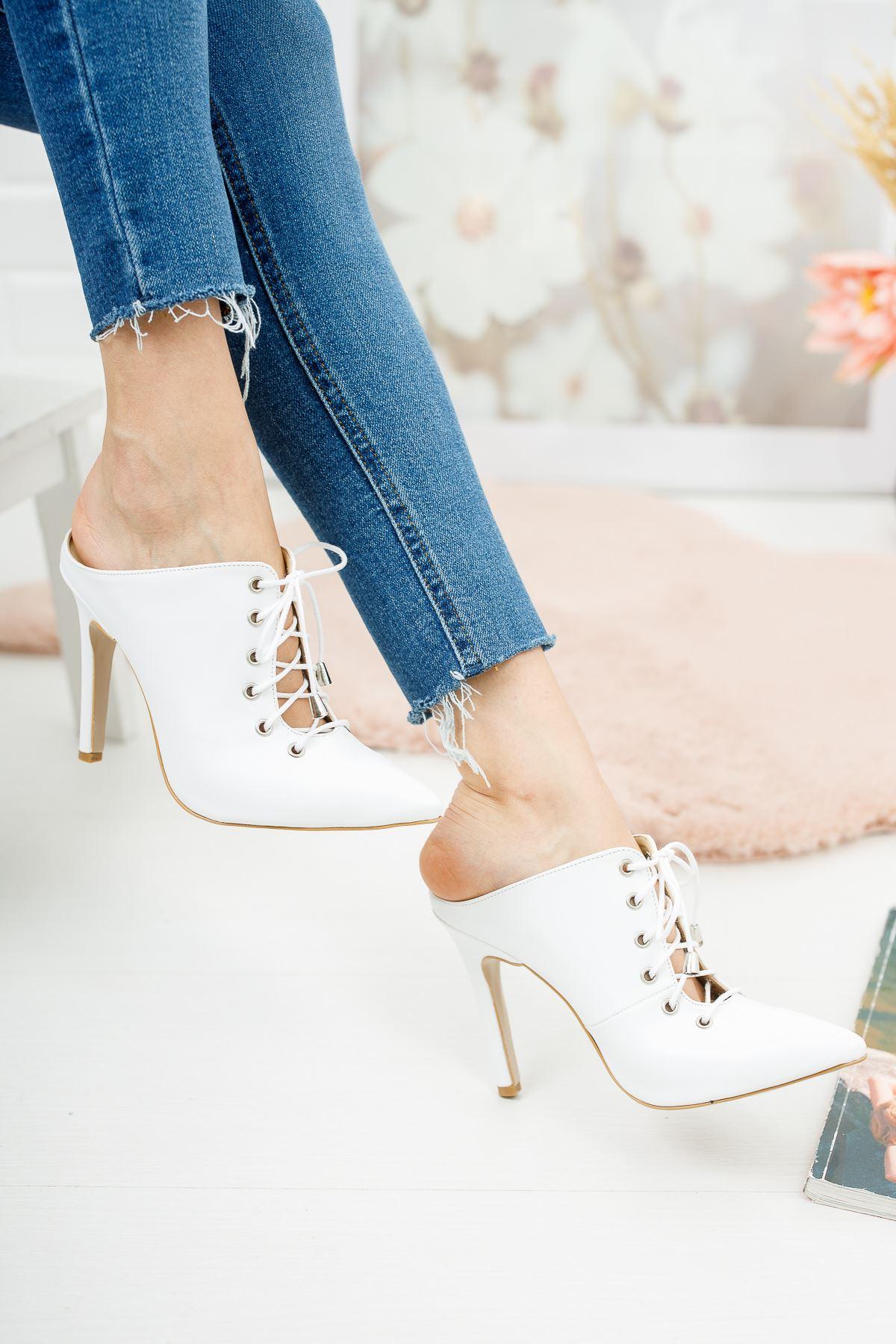 Marina Beyaz Cilt Topuklu Ayakkabı Stiletto