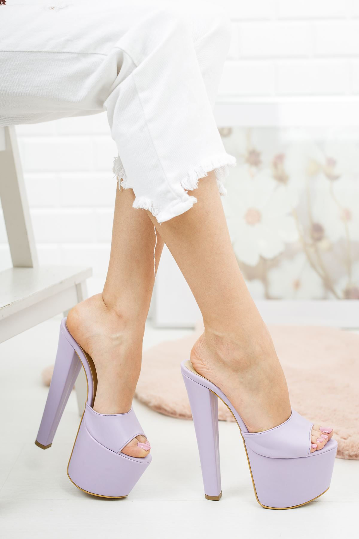 Franco Lila Cilt Kadın Yüksek Topuklu Ayakkabı