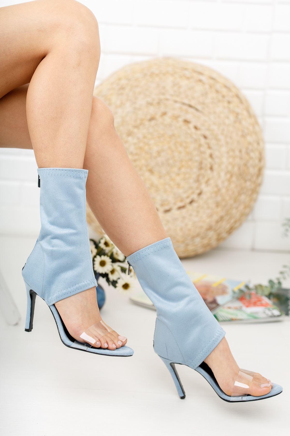 Agnes Mavi Süet Topuklu Kadın  Ayakkabı