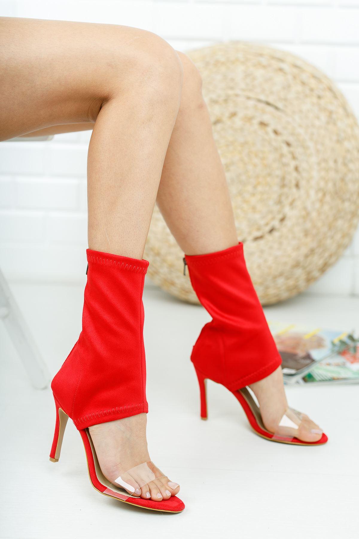 Agnes Kırmızı Süet Topuklu Kadın  Ayakkabı