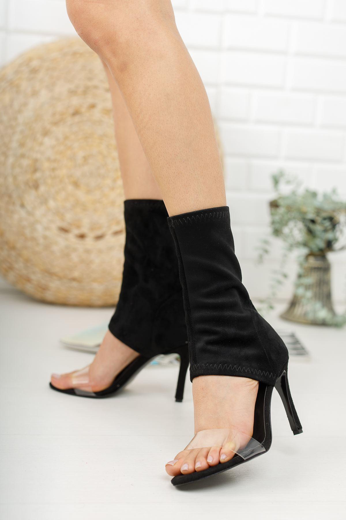 Agnes Siyah Süet Topuklu Kadın  Ayakkabı