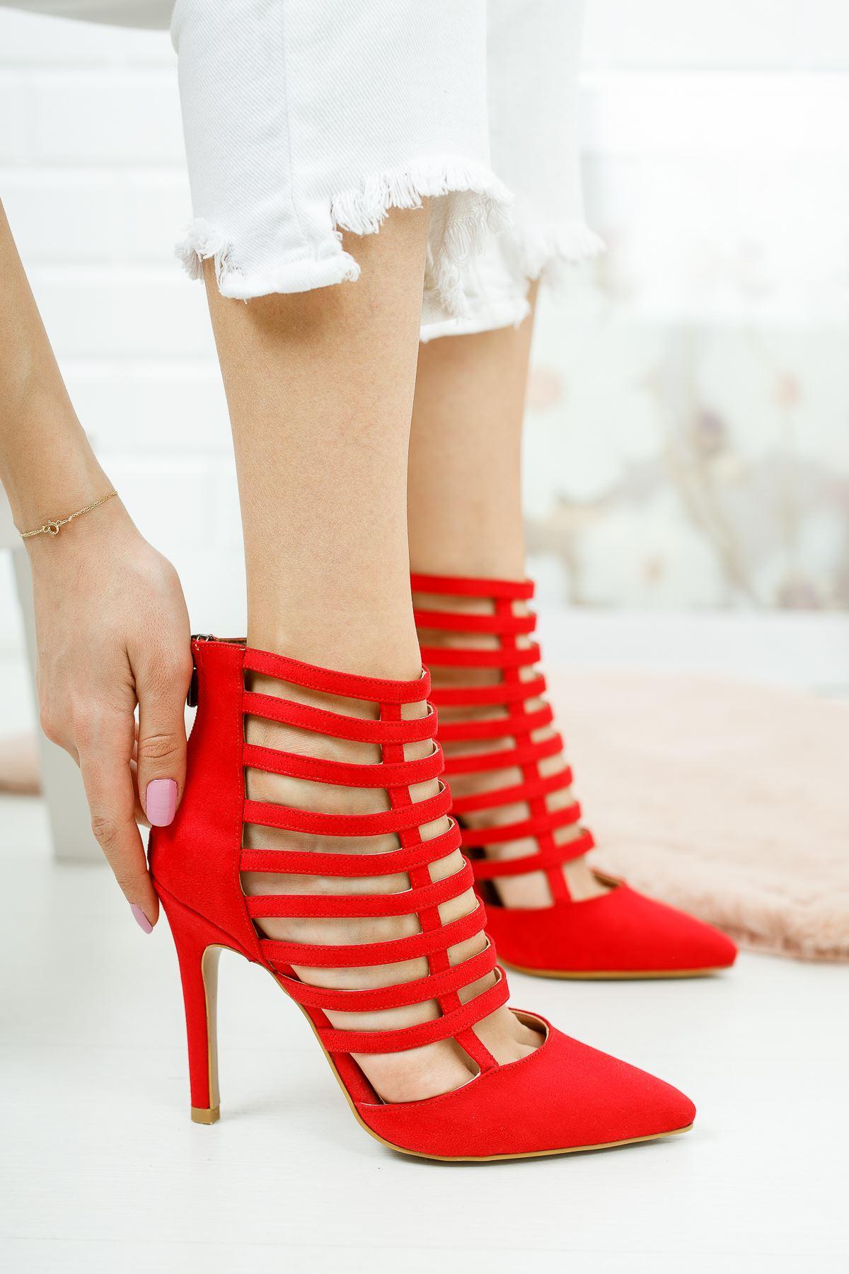 Edgar Kırmızı Süet Kadın Topuklu Ayakkabı