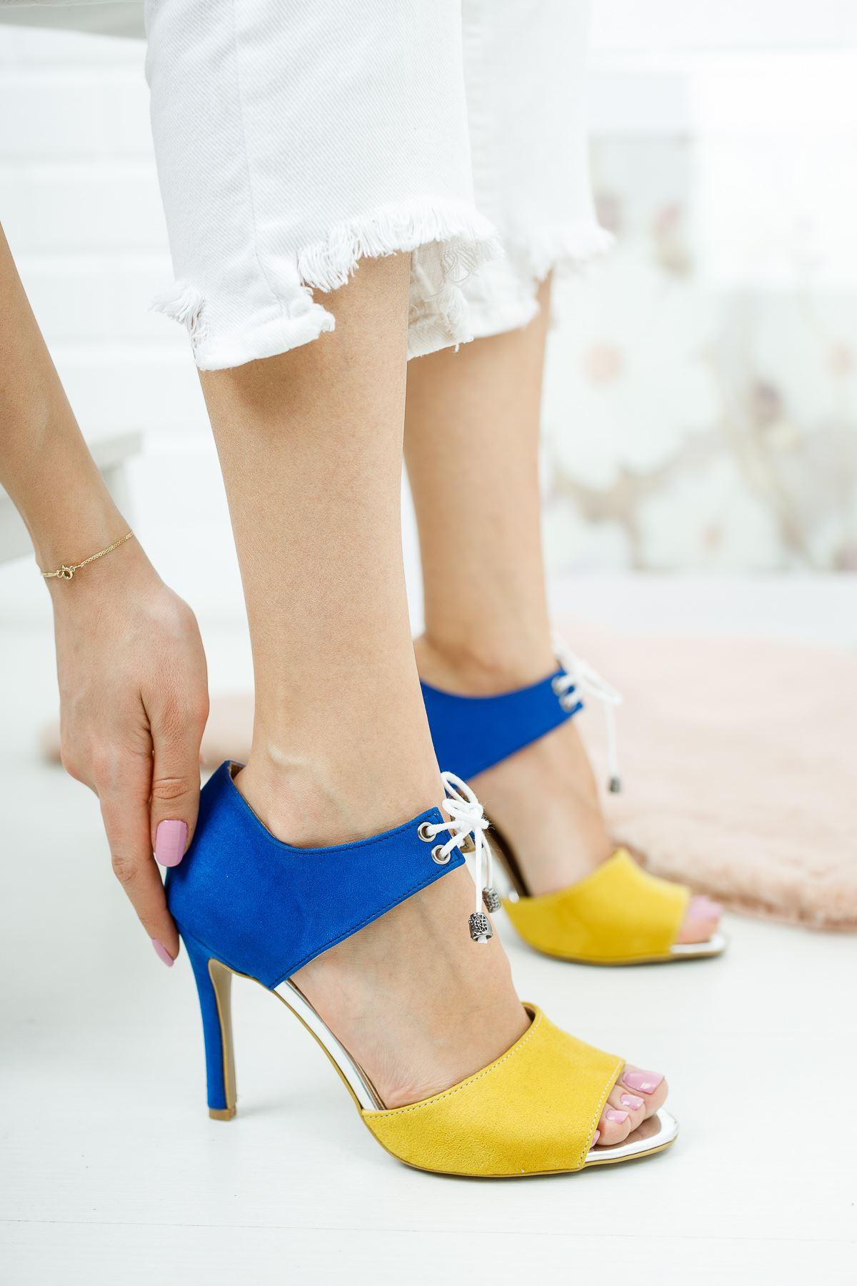 Tosna Sax - Hardal Süet Bağcıklı Kadın Topuklu Ayakkabı