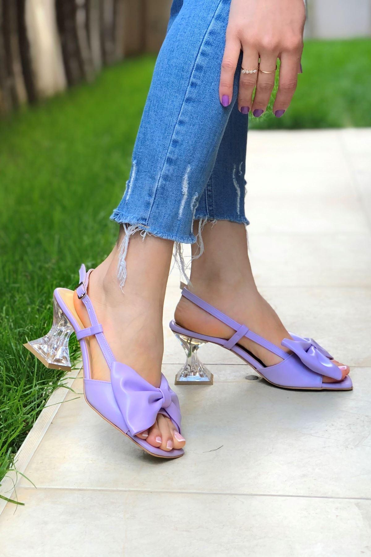 Cloe Lila Cilt Papyonlu Şeffaf Kadın Topuklu Ayakkabı