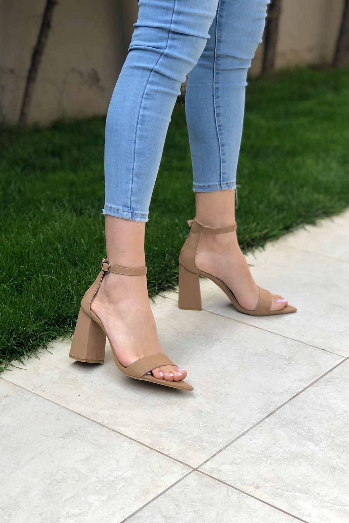 Taba Süet Topuklu Ayakkabı