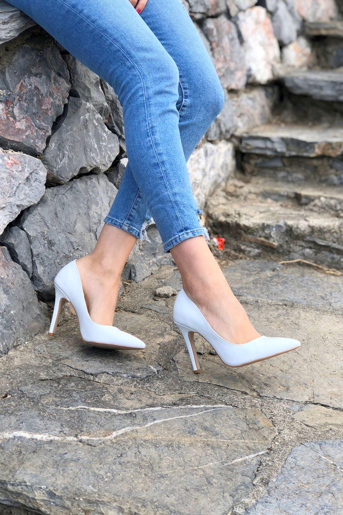 Tokyo Beyaz Cilt Topuklu Ayakkabı