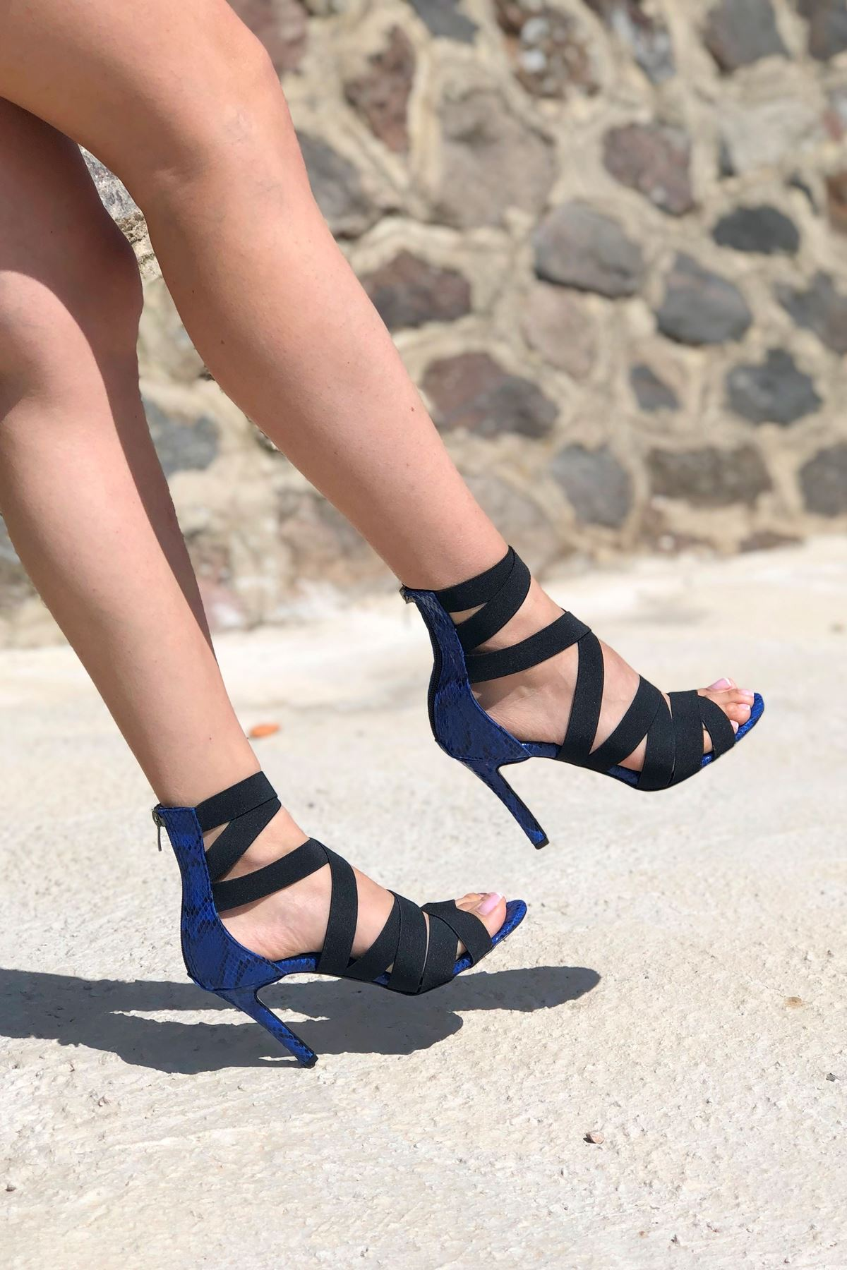 Rasha Mavi Yılan Lastikli Topuklu Ayakkabı