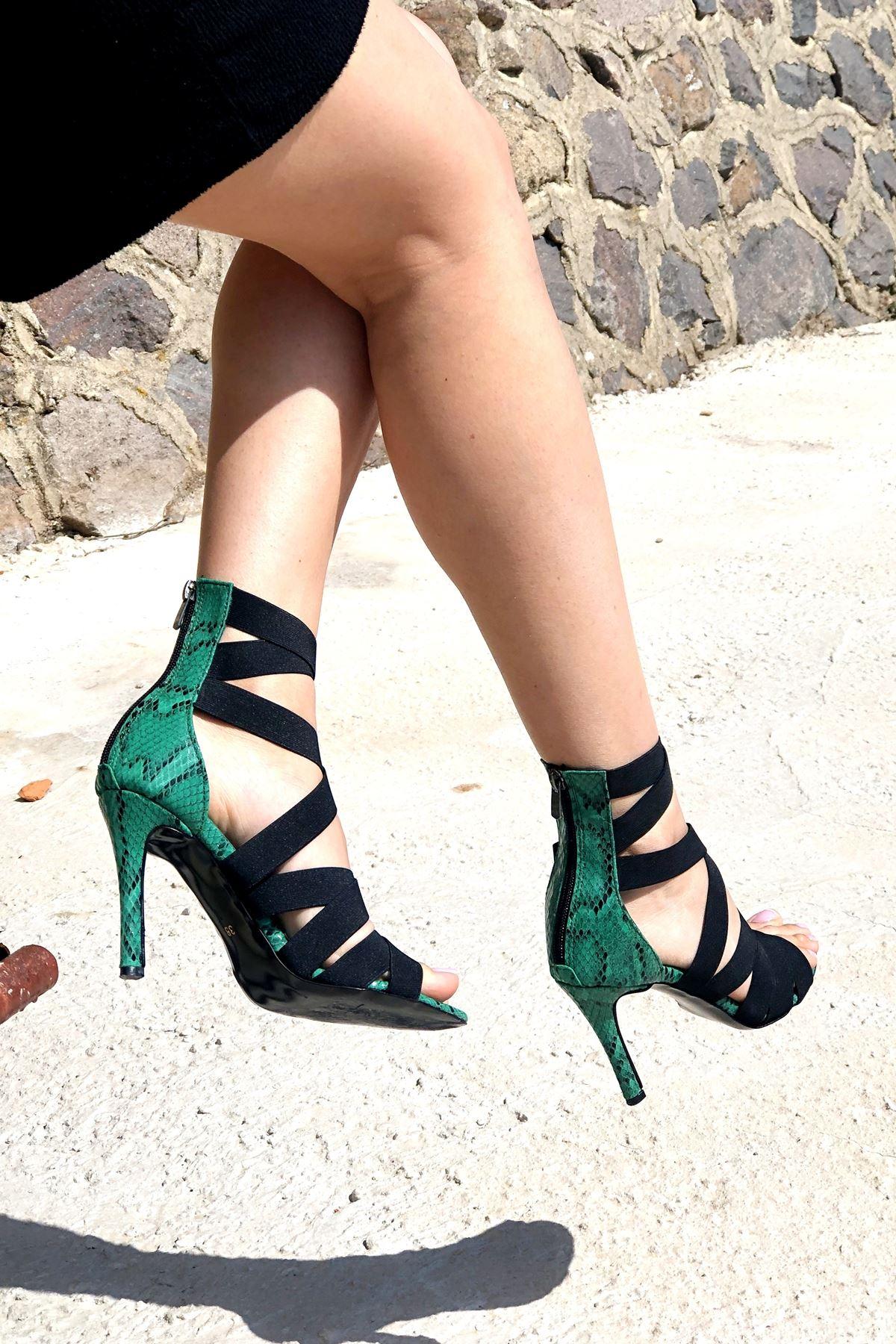 Rasha Yeşil Yılan Lastikli Topuklu Ayakkabı