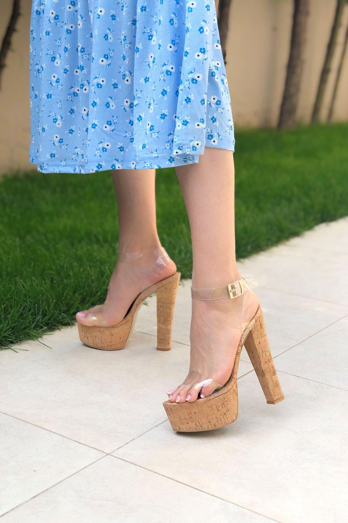 Jeff Mantar - Şeffaf Yüksek Topuklu Ayakkabı