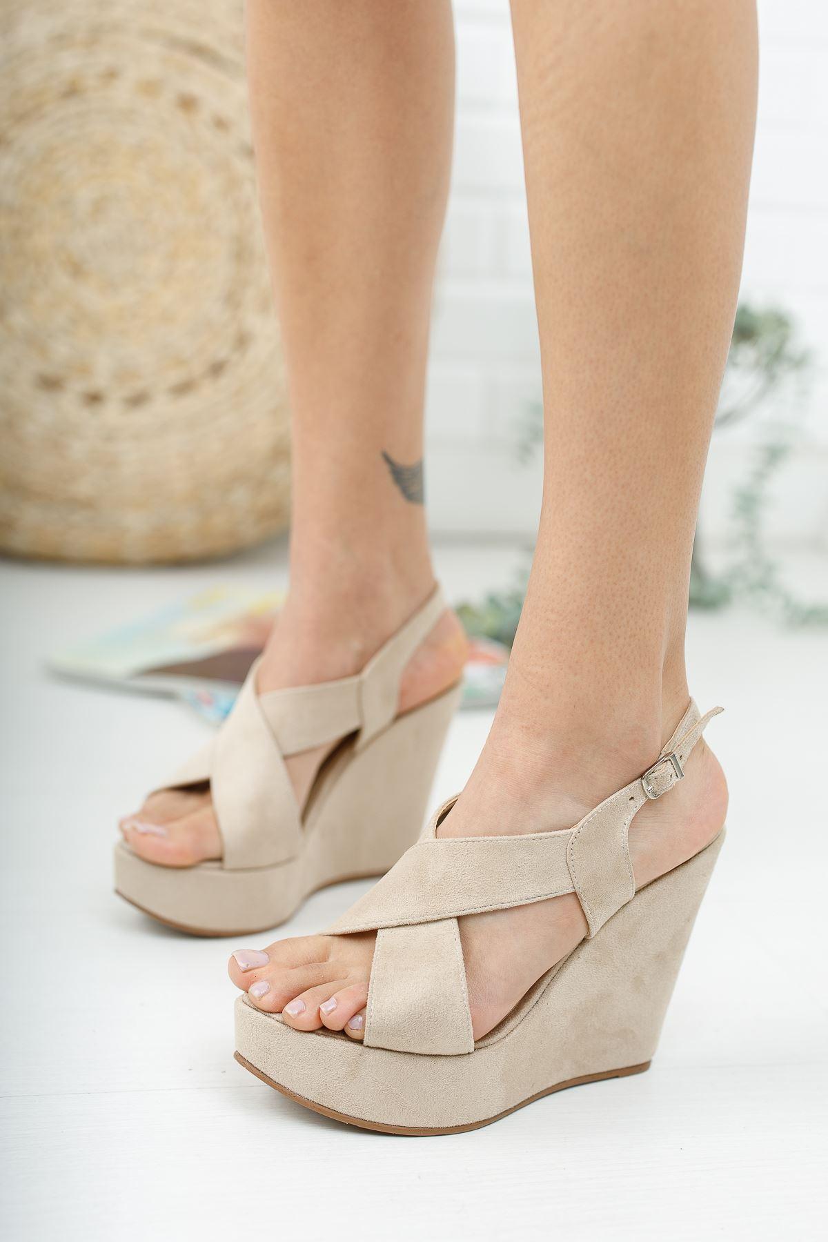Daniela Ten Süet  Dolgu Topuklu Kadın Ayakkabı
