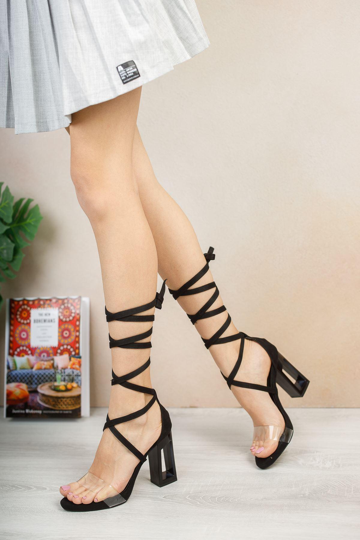 Felix Siyah Süet Topuklu Ayakkabı