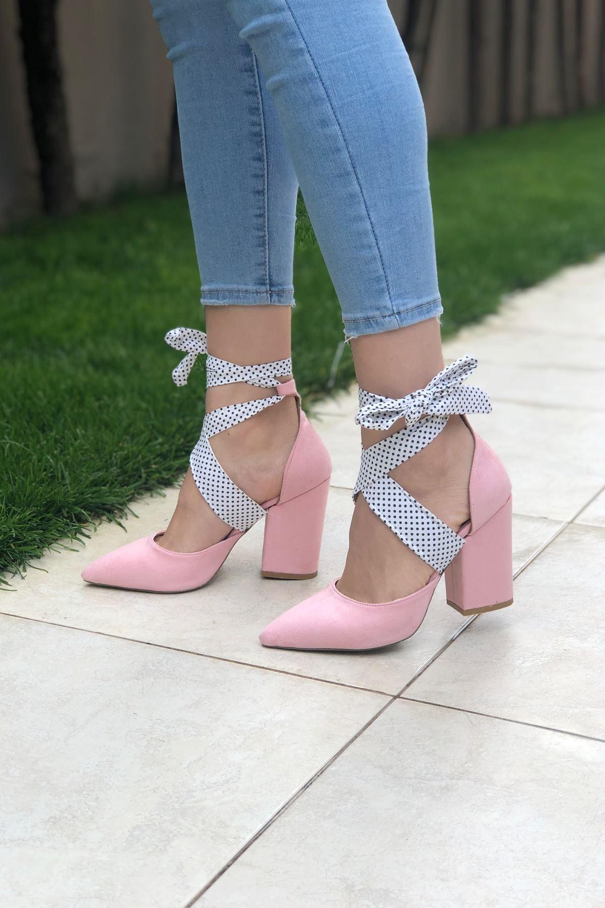 Pembe Süet Topuklu Ayakkabı