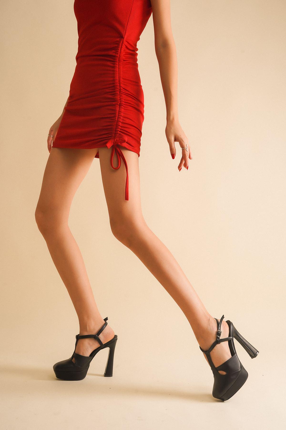 Orfila Siyah Cilt Topuklu Ayakkabı
