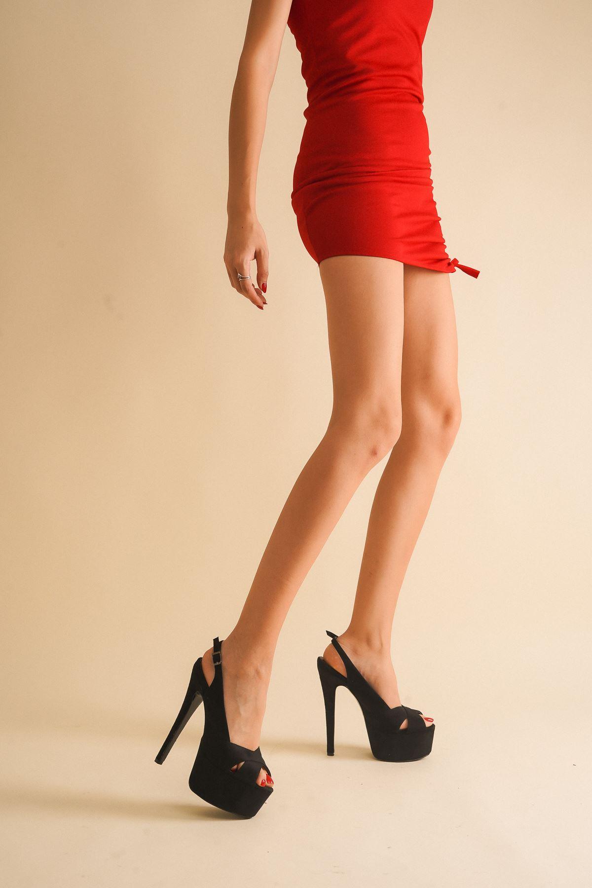 Acero Siyah Süet Yüksek Topuklu Kadın Ayakkabı