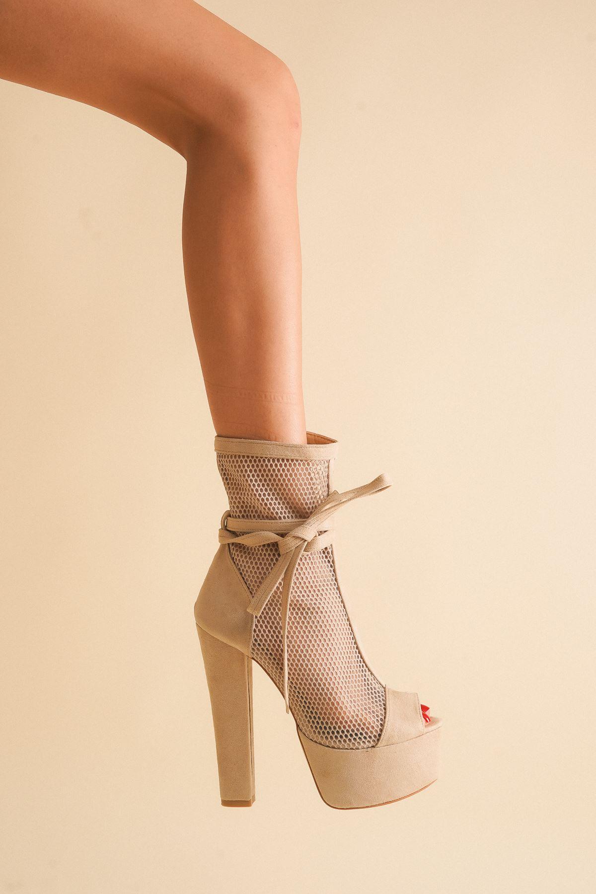 Parisa Ten Süet Yüksek Topuklu Ayakkabı