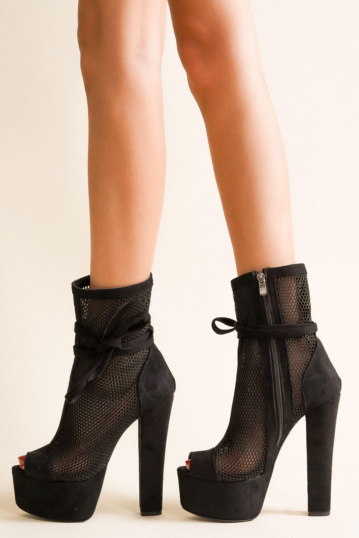 Parisa Siyah Süet Yüksek Topuklu Ayakkabı