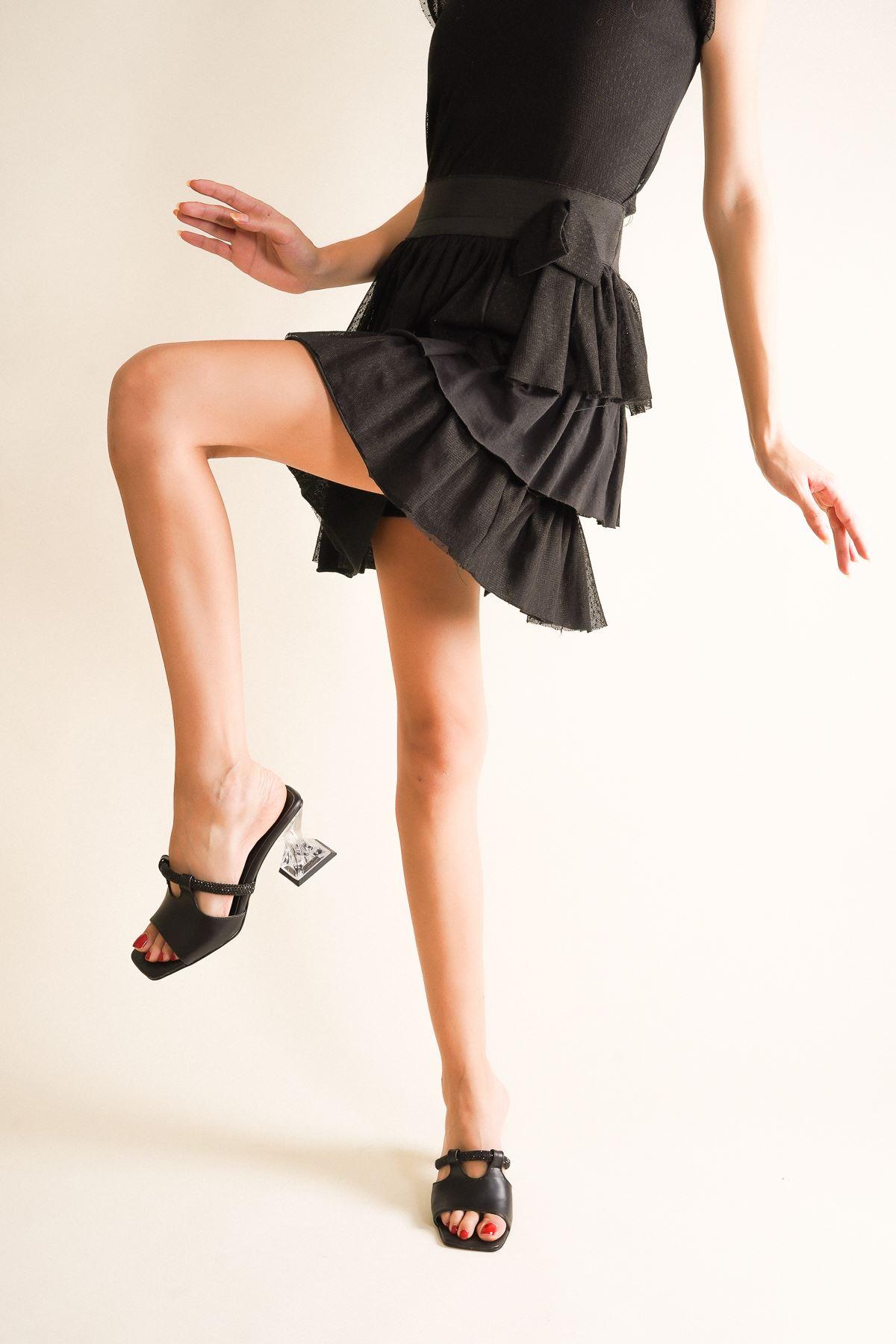 Nuvo Siyah Cilt Taşlı Şeffaf Kadın Topuklu Terlik