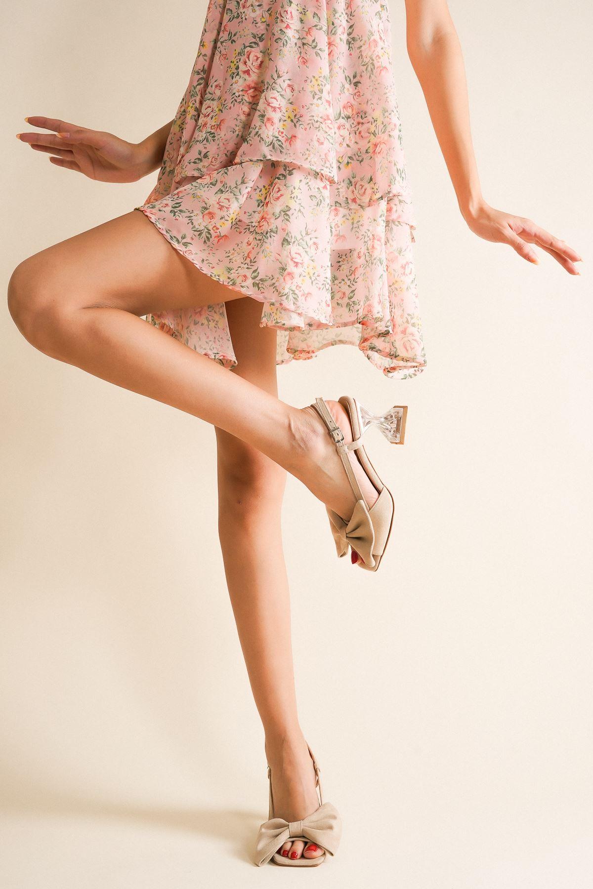 Cloe Ten Süet Papyonlu Şeffaf Kadın Topuklu Ayakkabı