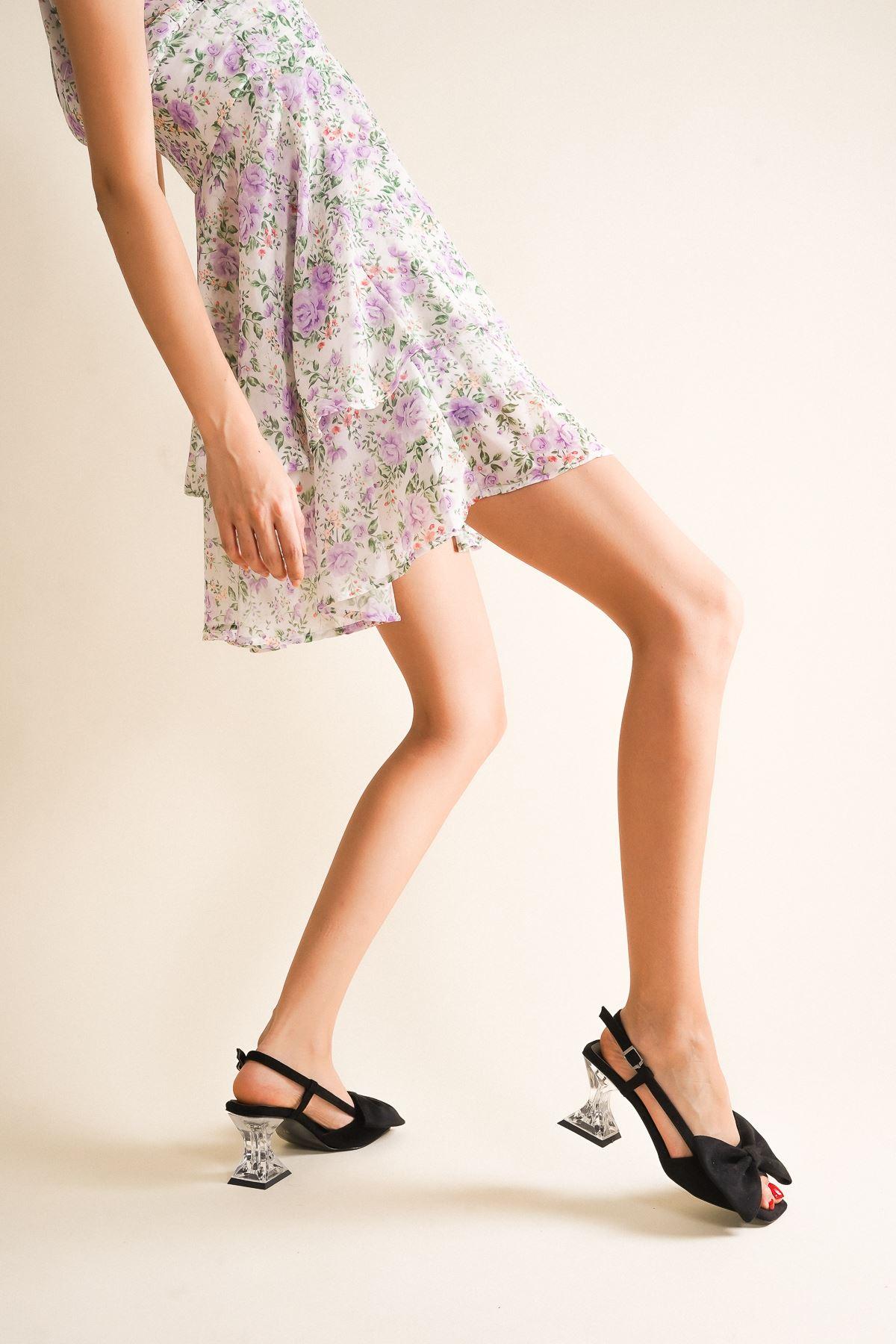 Cloe Siyah Süet Papyonlu Şeffaf Kadın Topuklu Ayakkabı