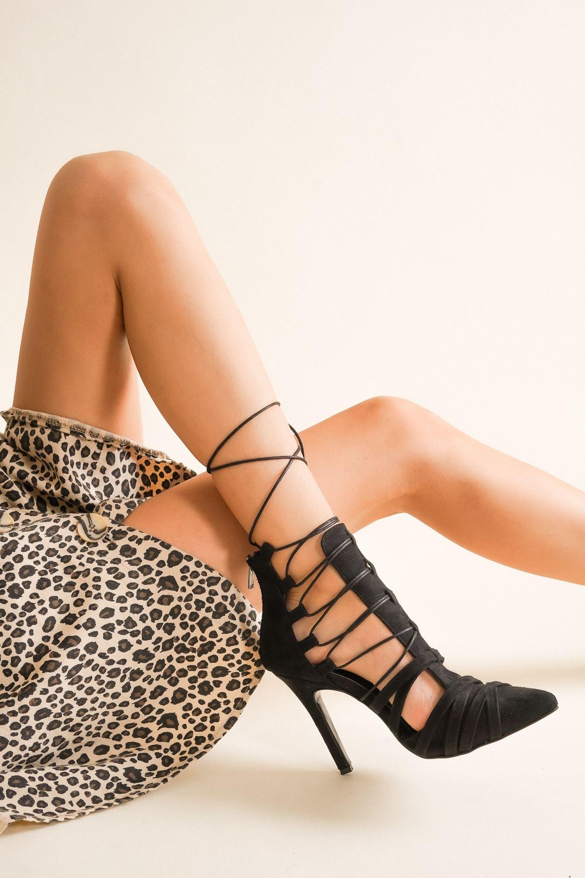 Long Siyah Süet Bağcıklı Topuklu Ayakkabı