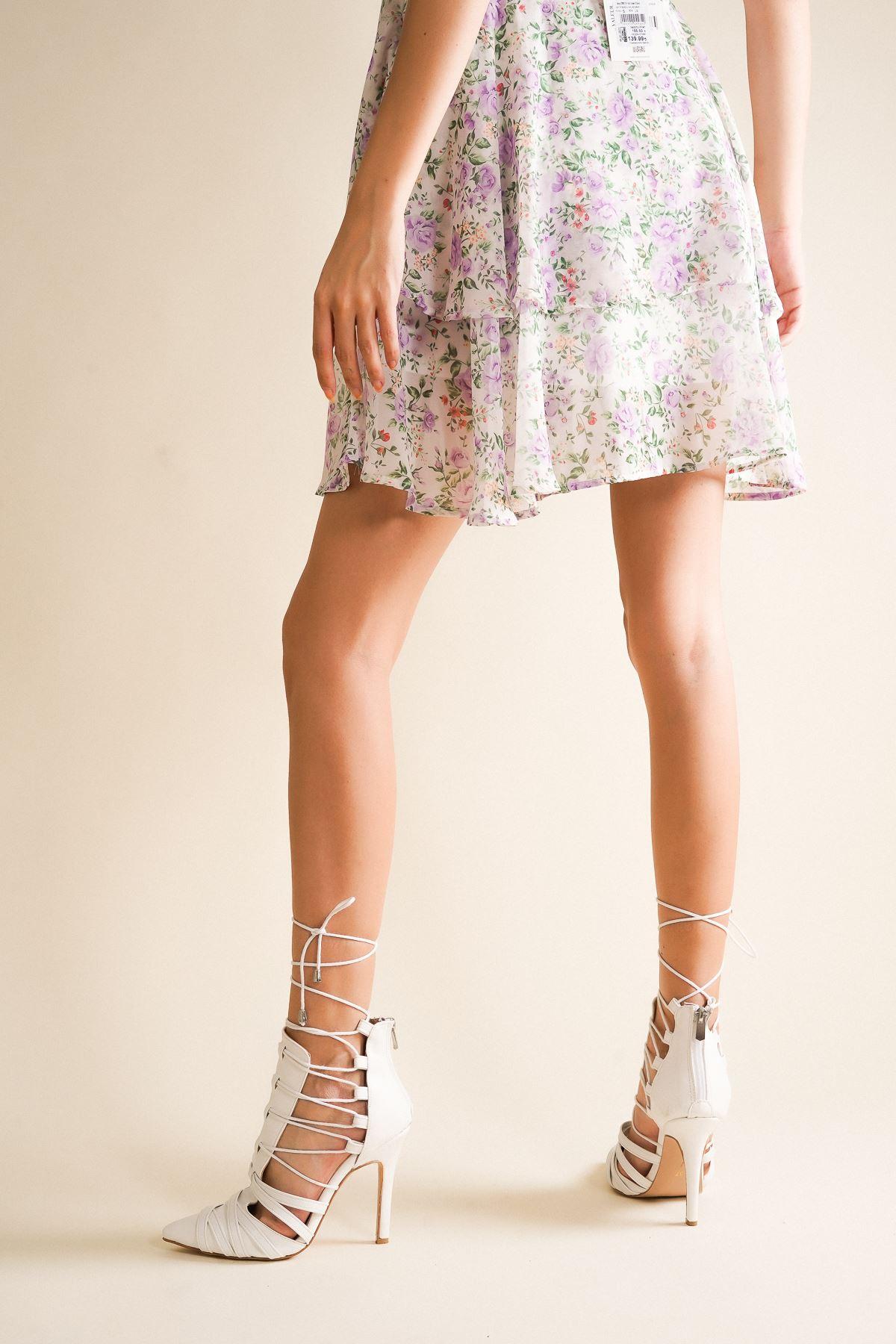 Long Beyaz Cilt Bağcıklı Topuklu Ayakkabı