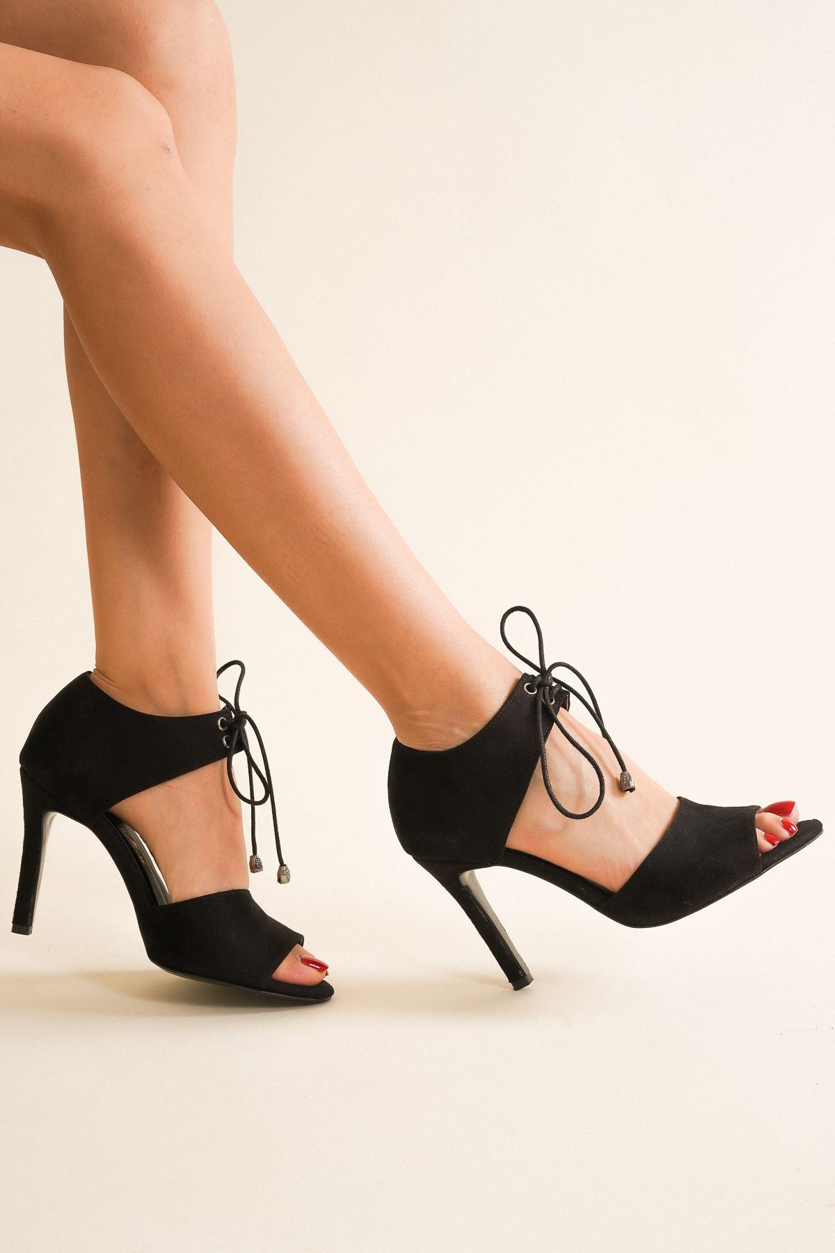 Tosna Siyah Süet Bağcıklı Kadın Topuklu Ayakkabı
