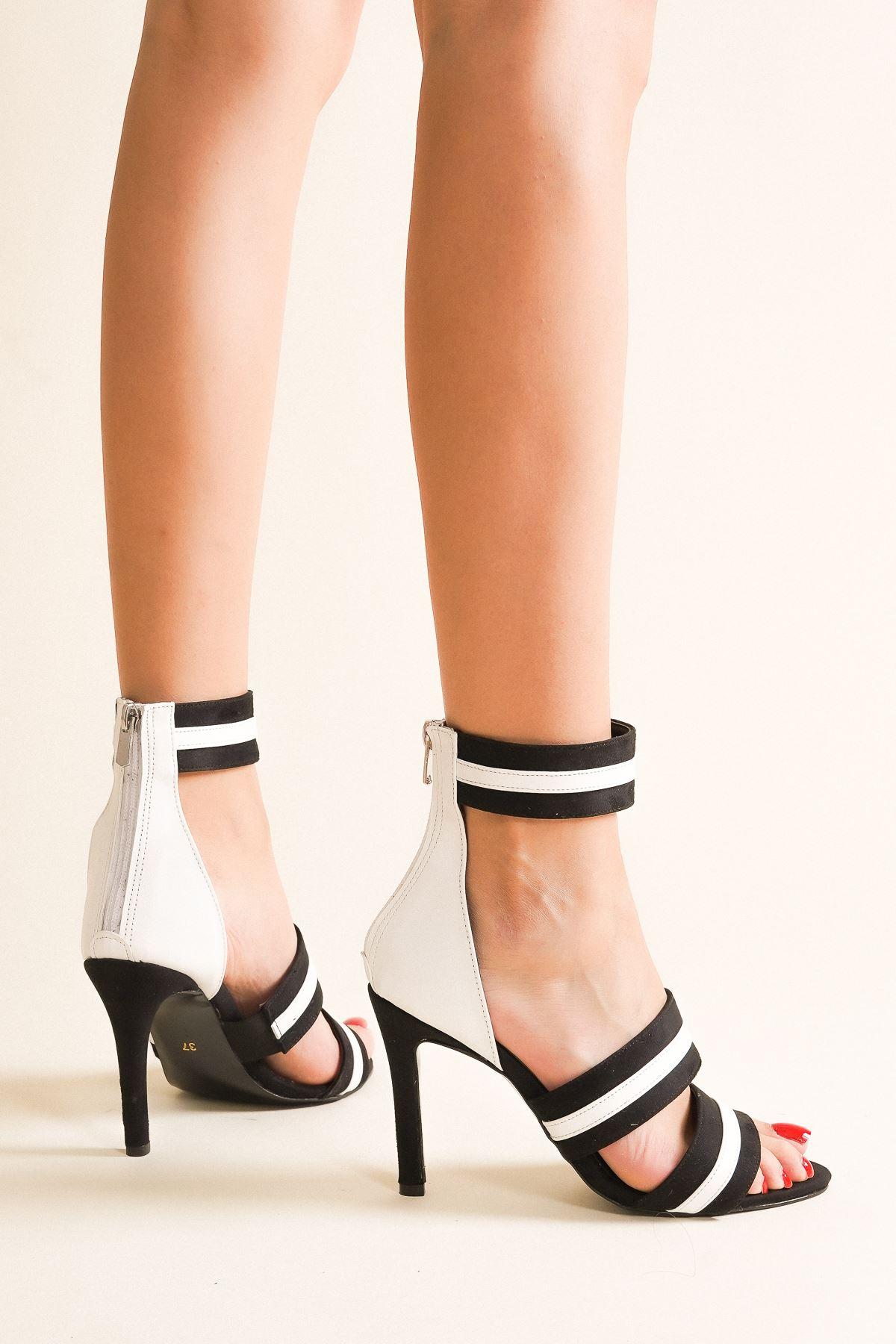 Haves Siyah Beyaz Topuklu Ayakkabı