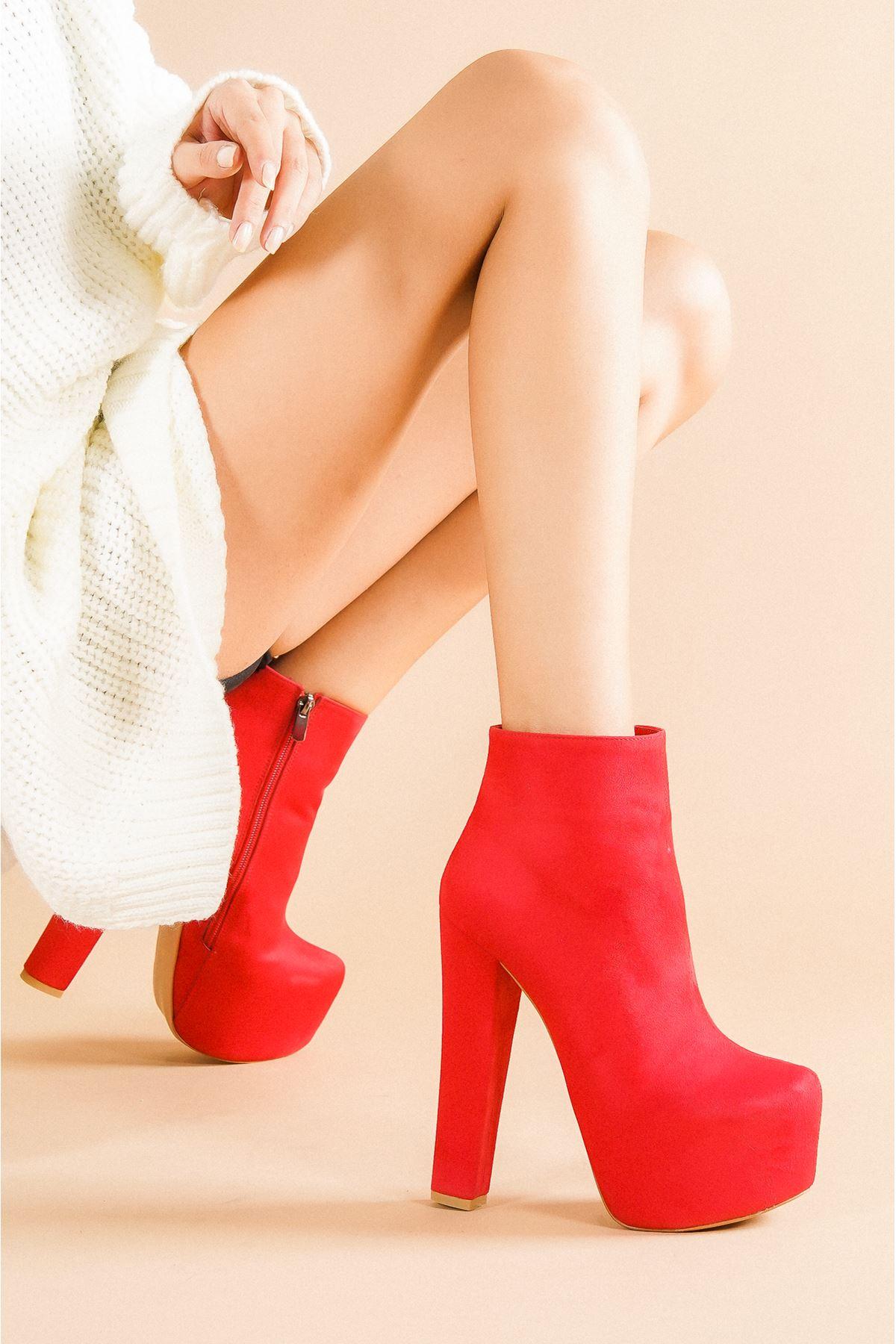 Punta Kırmızı Süet Topuklu Kadın Bot