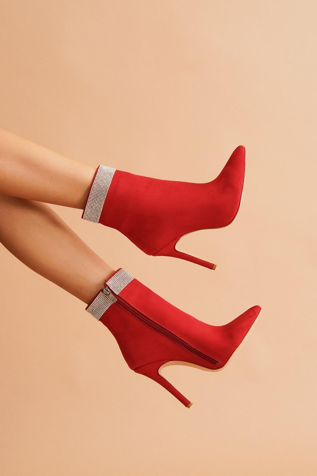 Diya Kırmızı Süet Taşlı Topuklu Kadın Bot