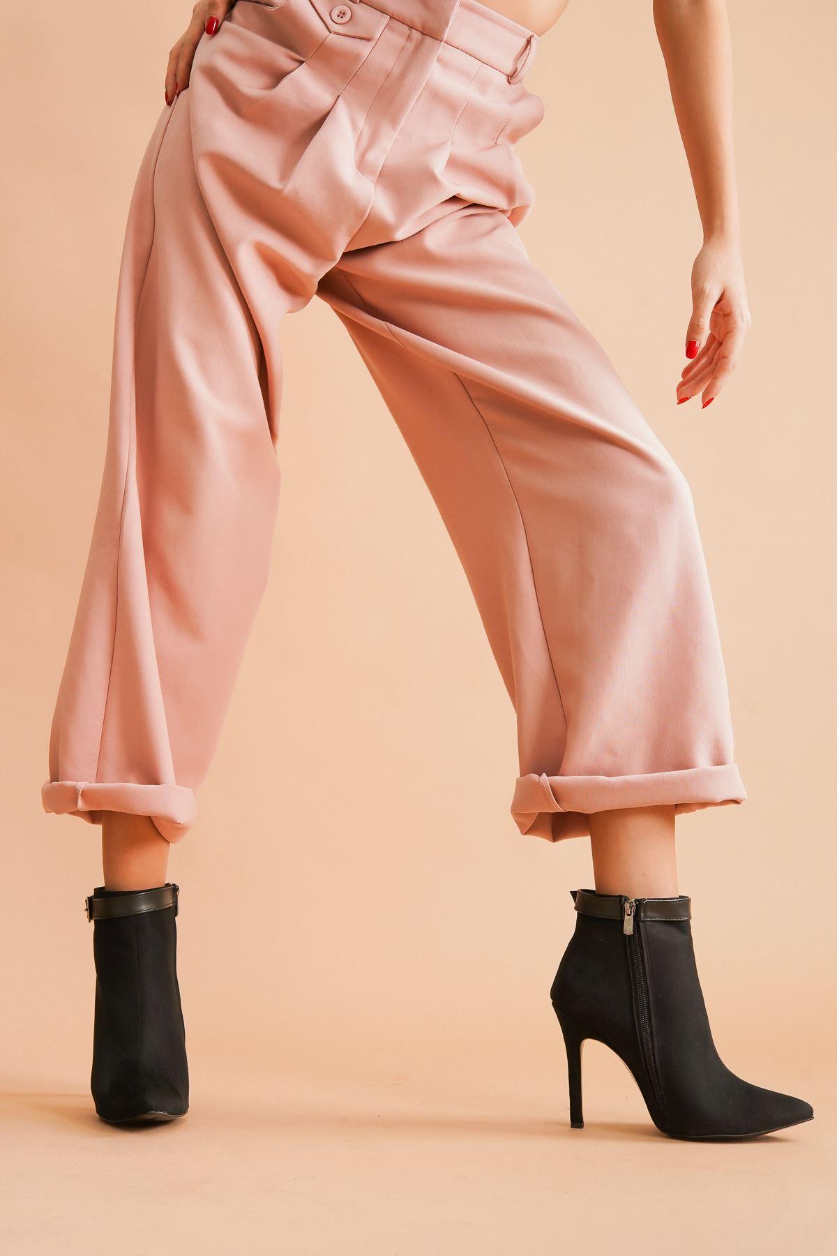 Ventos Siyah Süet Topuklu Stiletto Kadın Bot
