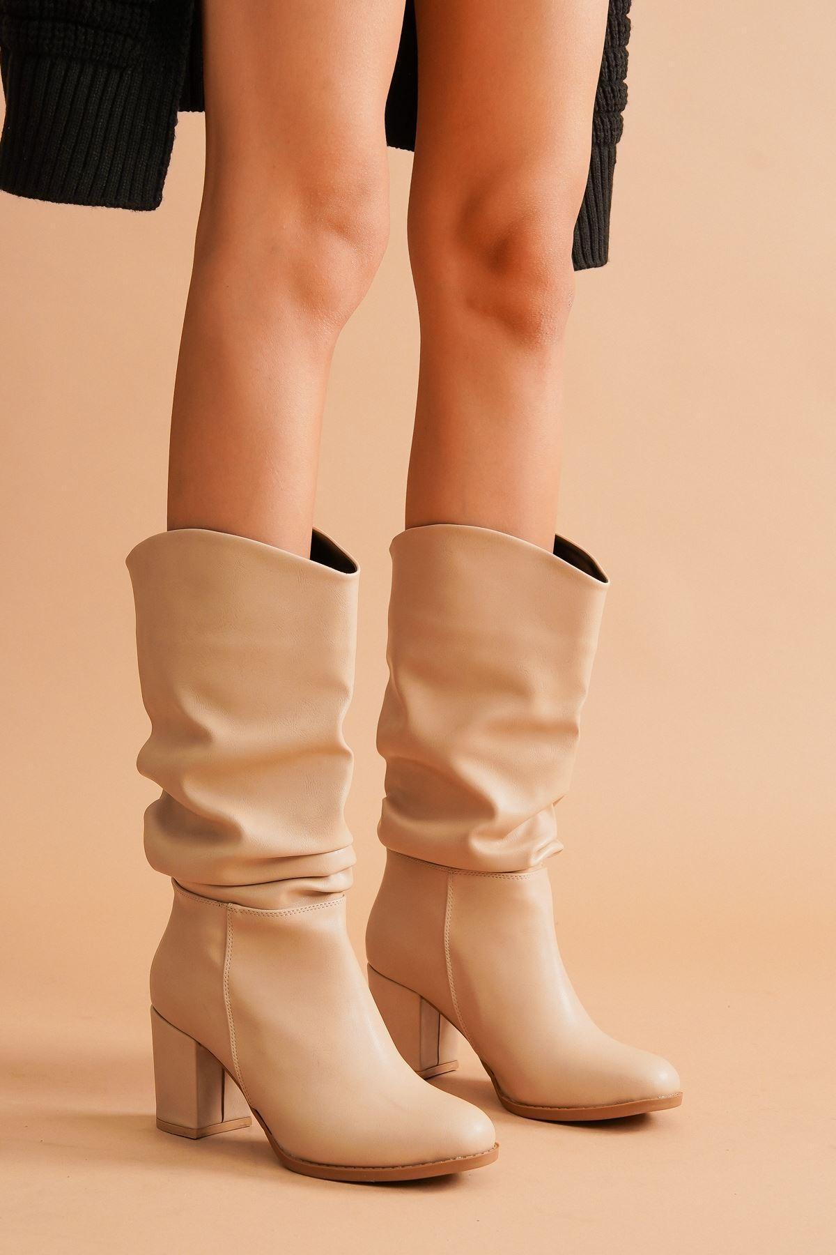 Aslia Ten Cilt Topuklu Kadın Ayakkabı