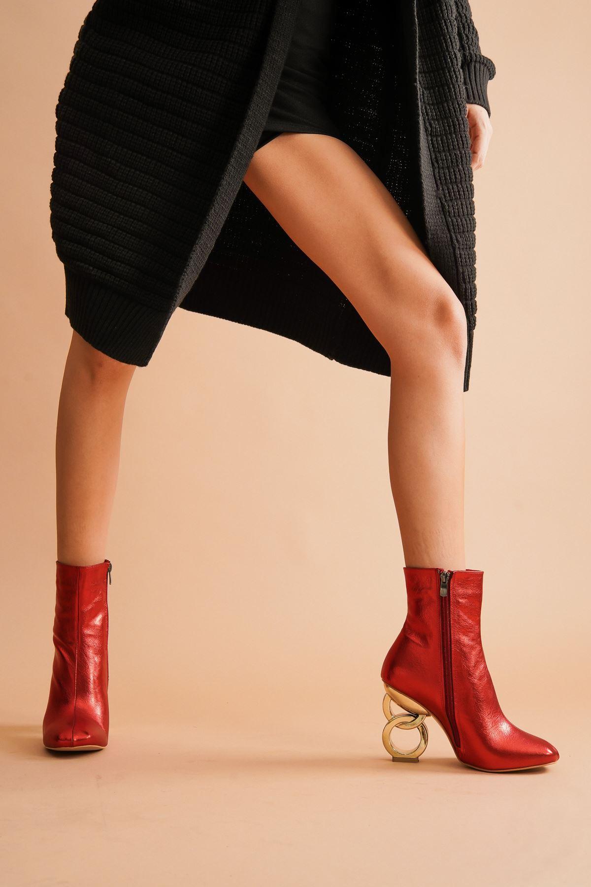 Shema Kırmızı Kırışık Halka Topuklu Kadın Bot