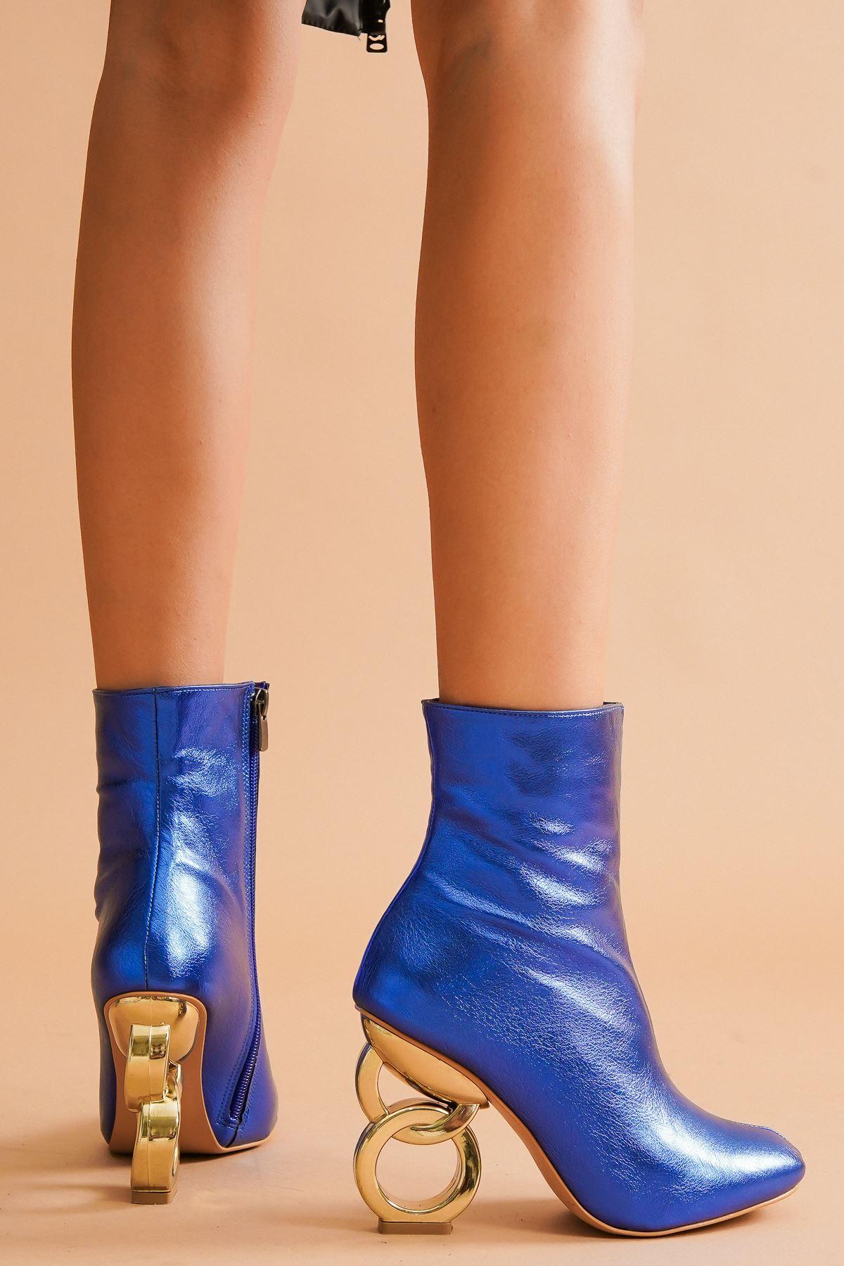 Shema Mavi Kırışık Halka Topuklu Kadın Bot