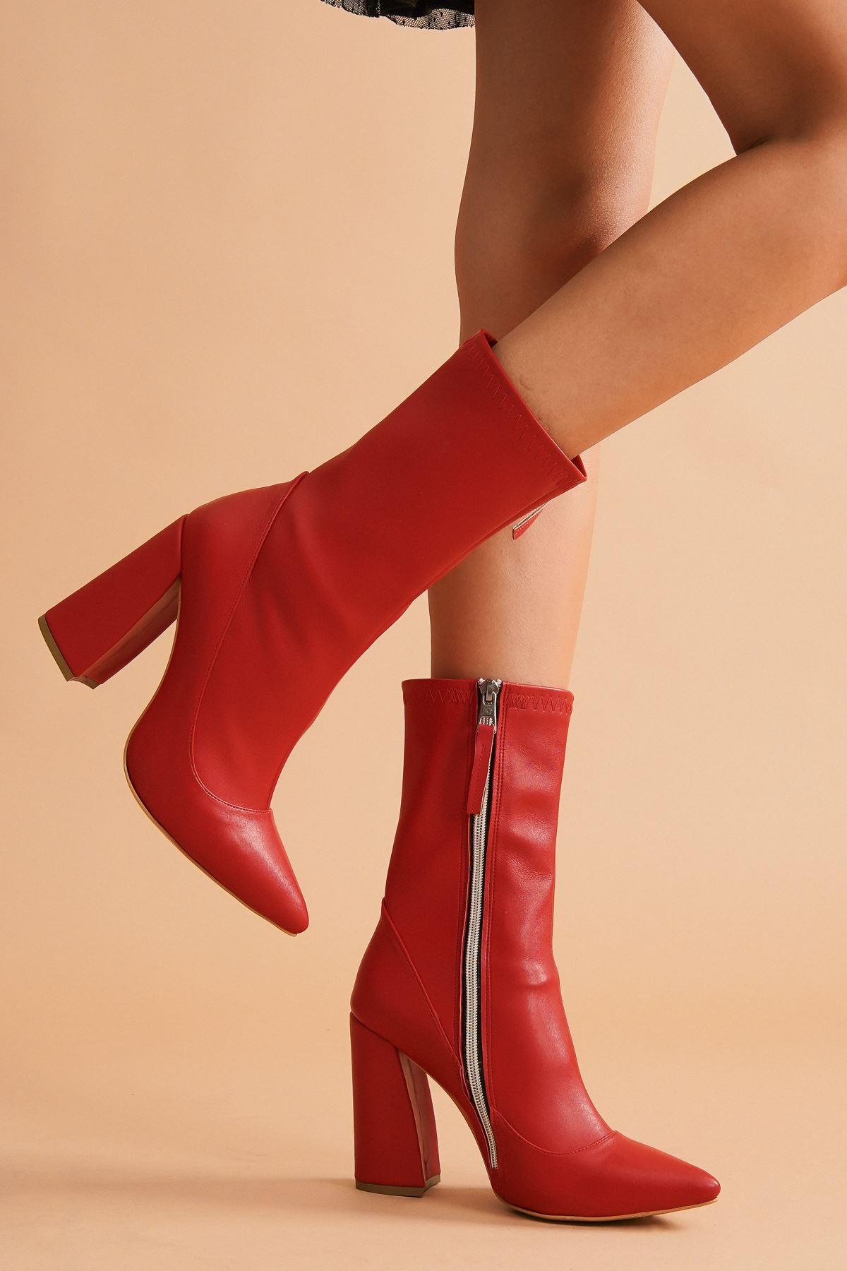 Halle Kırmızı Cilt Topuklu Kadın Bot