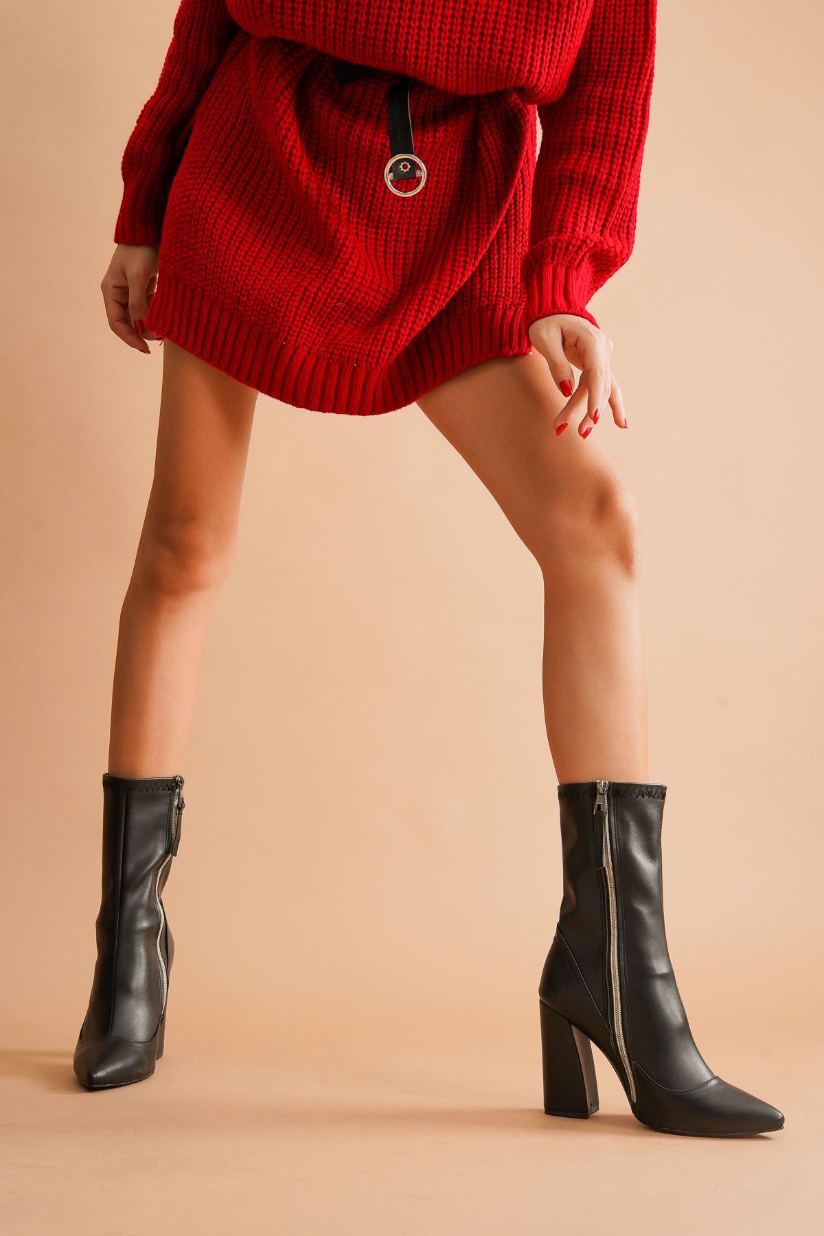 Halle Siyah Cilt Topuklu Kadın Bot