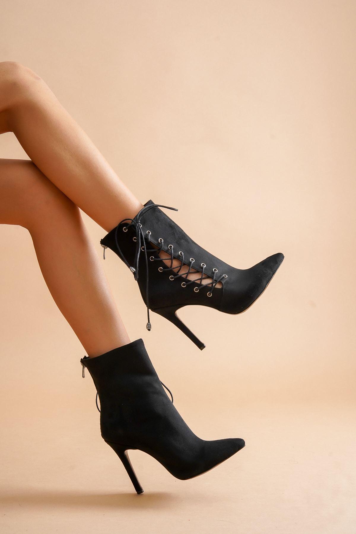 Aida Siyah Süet Topuklu Kadın Ayakkabı