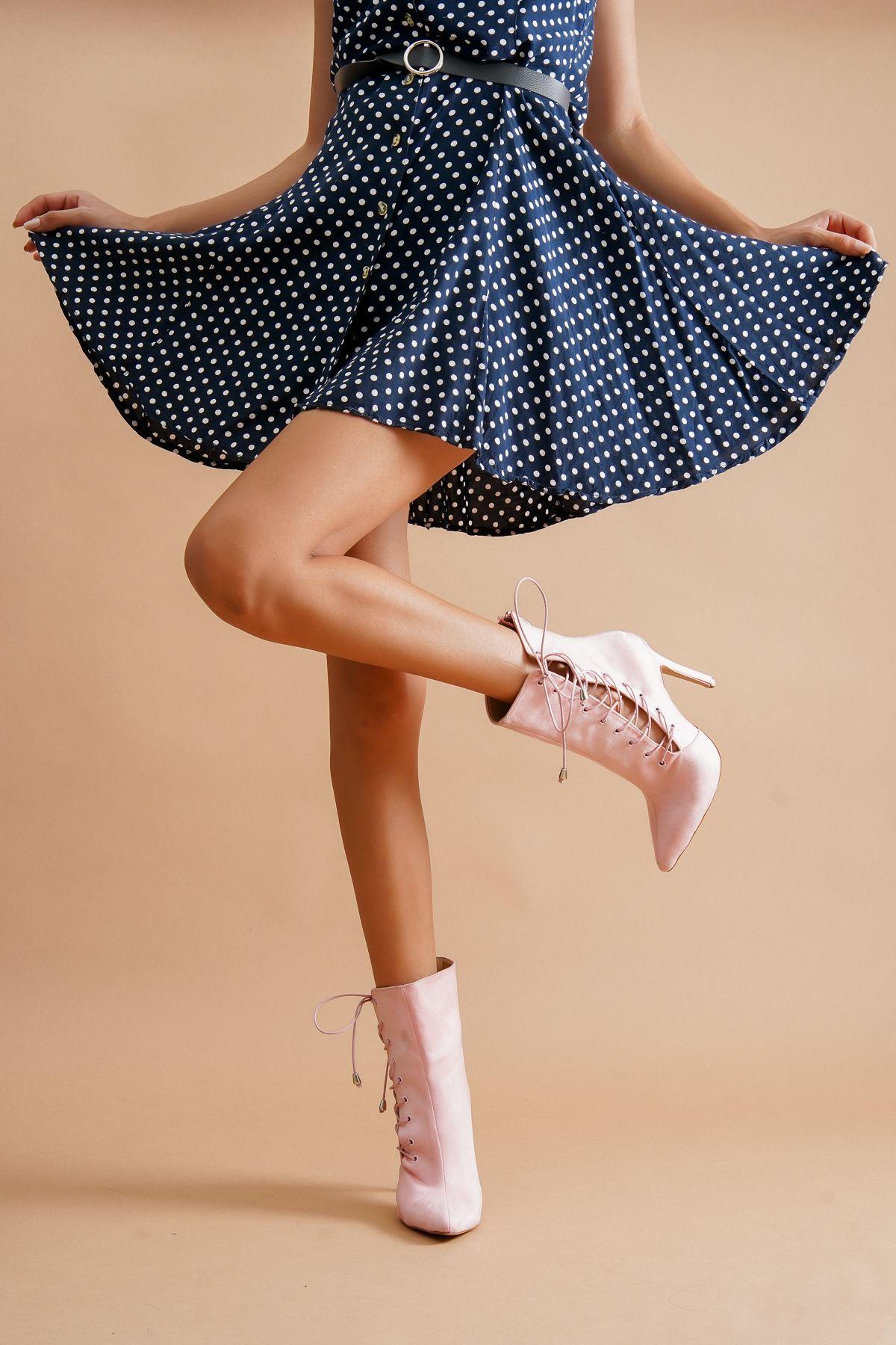 Aida Pudra Süet Topuklu Kadın Ayakkabı