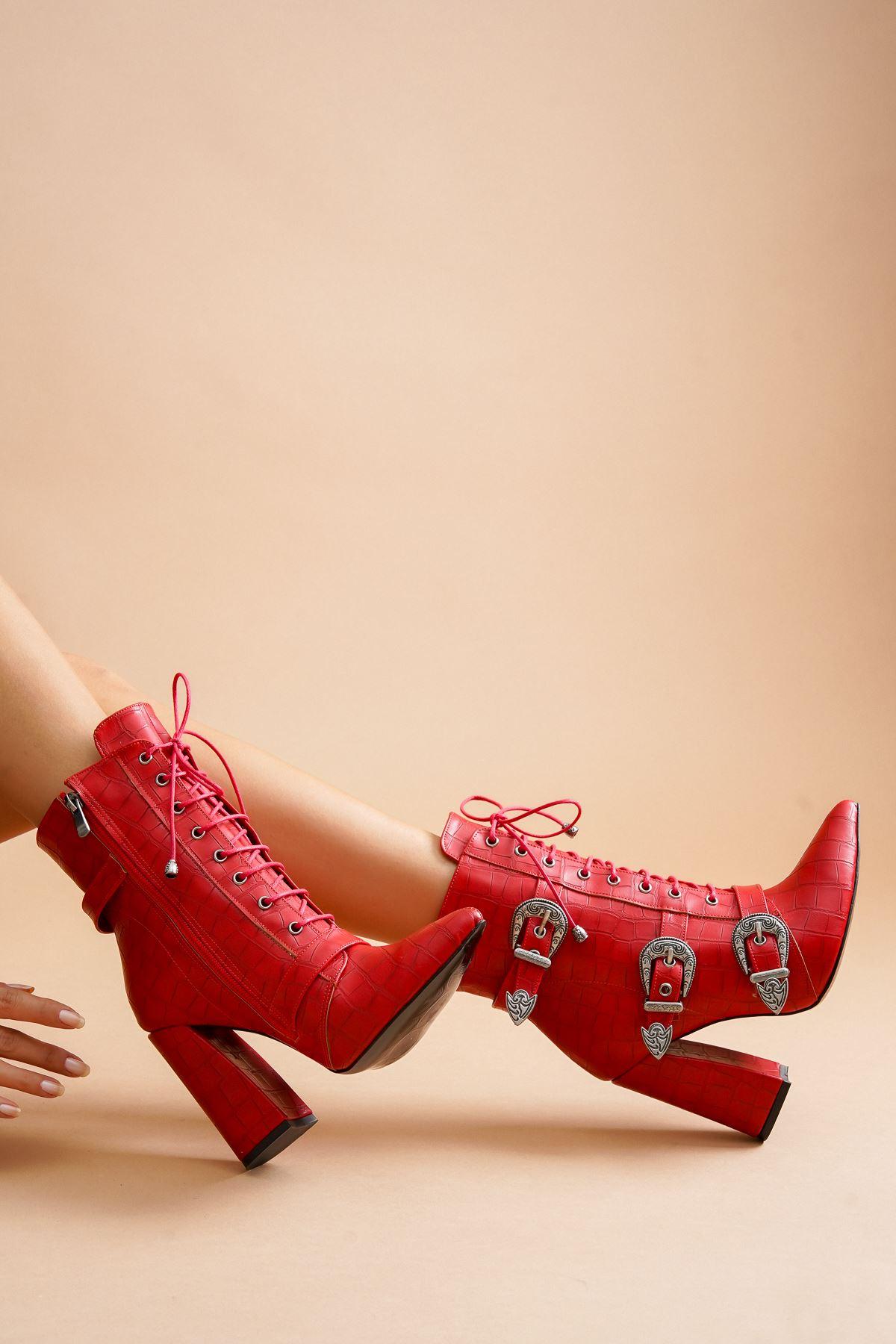 Mostari Kırmızı Kroko Tokalı Kadın Bot