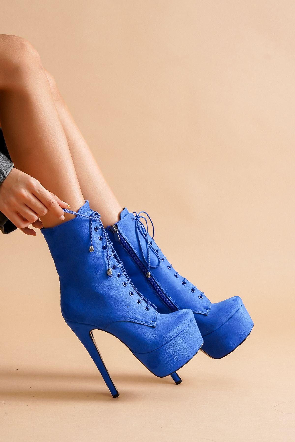 Gray Bağcıklı Sax Mavi Süet Yüksek Topuklu Kadın Bot