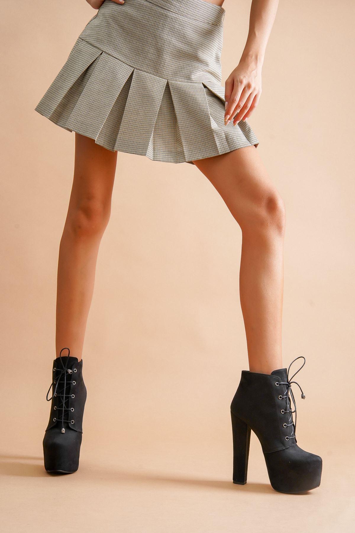Leander Siyah Süet Bağcıklı Yüksek Topuklu Kadın Bot