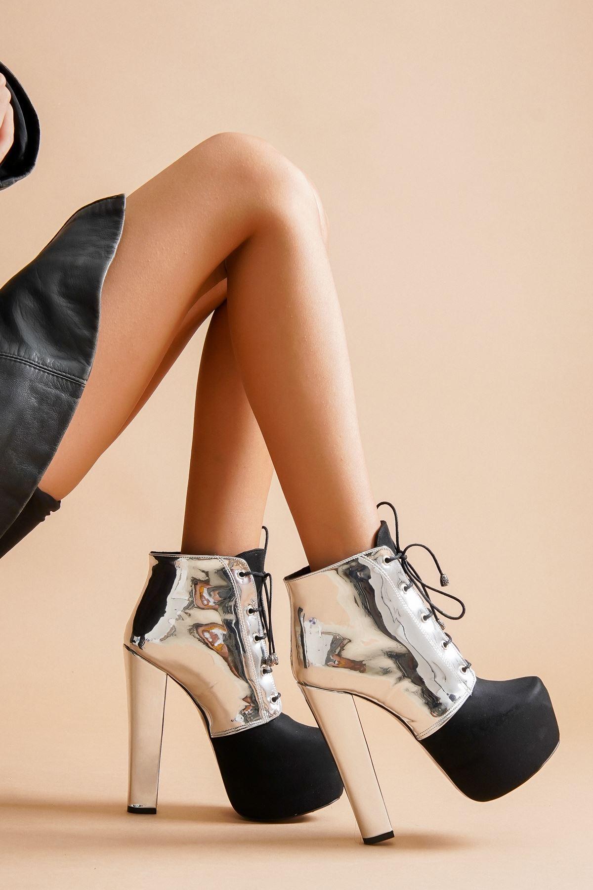 Leander Siyah - Platin Bağcıklı Yüksek Topuklu Kadın Bot
