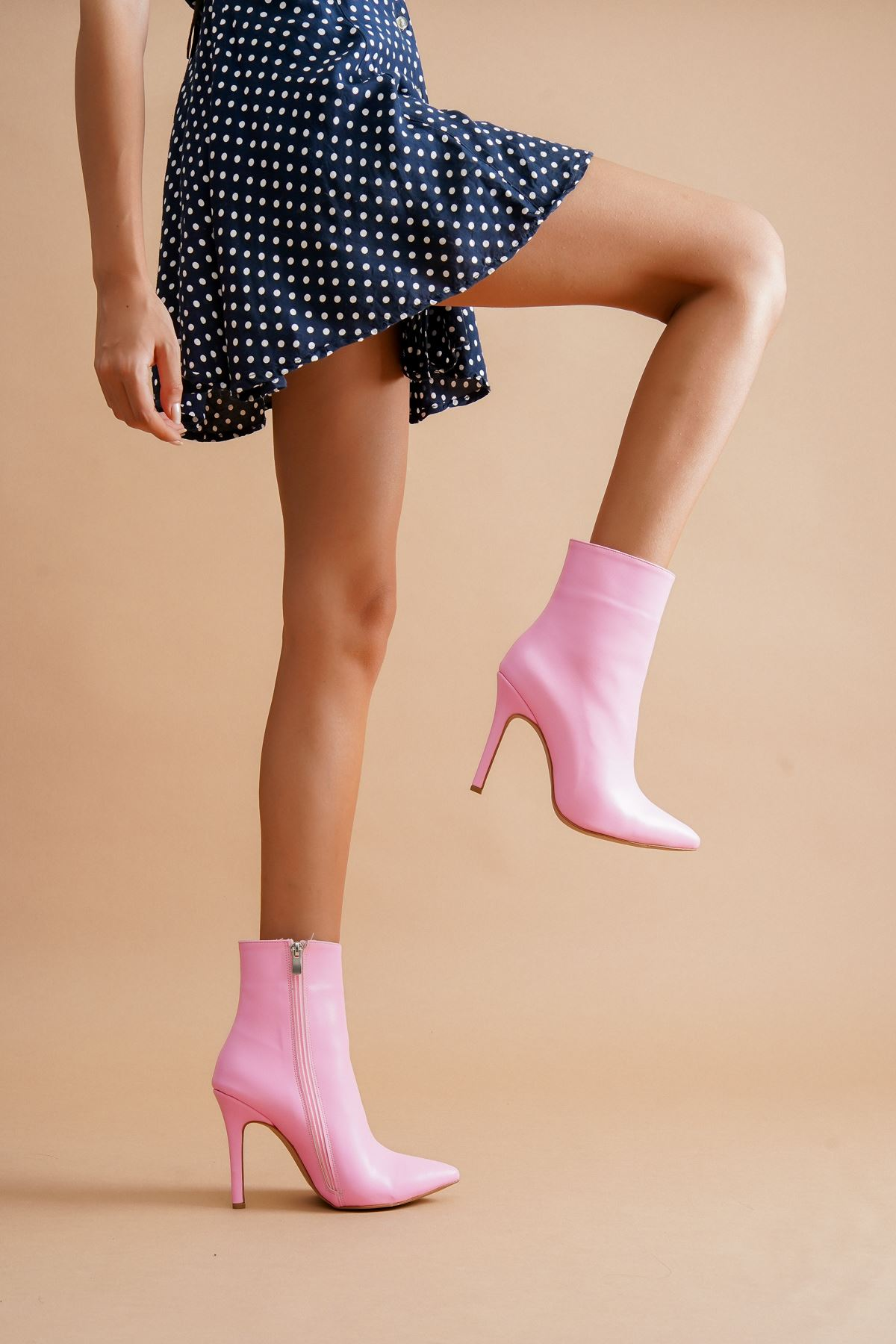 Halden Pembe Cilt Topuklu Kadın Bot