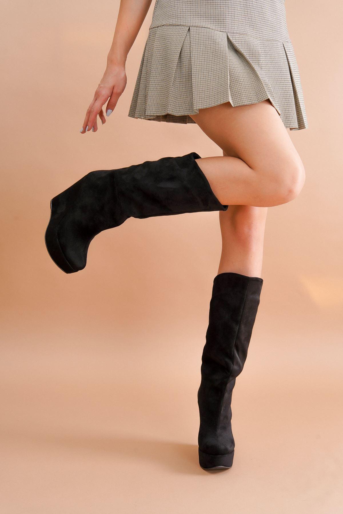Elin Siyah Süet Dolgu Topuk Kadın Bot