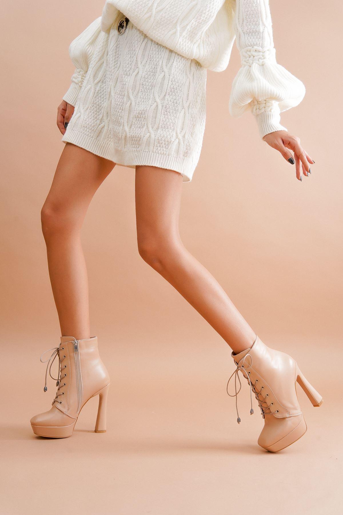 Viole Ten Cilt Topuklu Kadın Bot